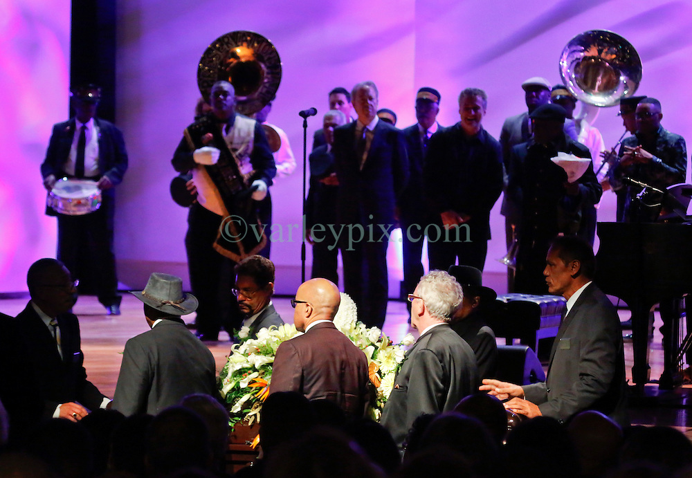 20 November 2015. Orpheum Theater, New Orleans, Louisiana. <br /> Memorial service for musician Allen Toussaint. <br /> Pall bearers prepare to move the coffin.<br /> Photo; Charlie Varley/varleypix.com
