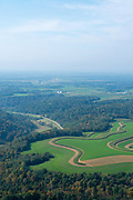 Aerial photograph of rural Wisconsin on a late summer morning. Near Hillpoint, Wisconsin.