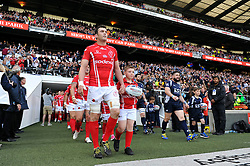 SSgt Darrell Ball of the Army and LA(AH) Ben Priddey of the Royal Navy leads their teams out onto the field - Photo mandatory by-line: Patrick Khachfe/JMP - Mobile: 07966 386802 09/05/2015 - SPORT - RUGBY UNION - London - Twickenham Stadium - Army v Royal Navy - Babcock Trophy