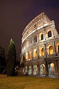 View of the Flavian Amphitheater (Roman Coliseum) from Piazza del Colosseo, Rome, Lazio, Italy.