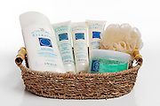 Dead Sea Skincare and natural extract products with sponge scrub in a basket