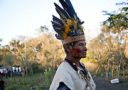 Elderly old Guarani man in a tradtional headress. The Guarani are one of the most populous indigenous populations in Brazil, but with the least amount of land. They mostly live in the State of Mato Grosso do Sul and Mato Grosso. Their tradtional way of life and ancestral land is increasingly at risk from large scale agribusiness and agriculture. There have been recorded cases and allegations of violence between owners of large farms and the Guarani communities in this region.