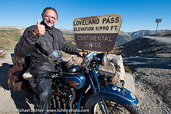 Paul Bessade of France on his 1929 Henderson KJ at the top of Loveland Pass during Stage 10 (278 miles) of the Motorcycle Cannonball Cross-Country Endurance Run, which on this day ran from Golden to Grand Junction, CO., USA. Monday, September 15, 2014.  Photography ©2014 Michael Lichter.