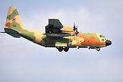 Israeli Air force Hercules C-130 transport plane in flight.
