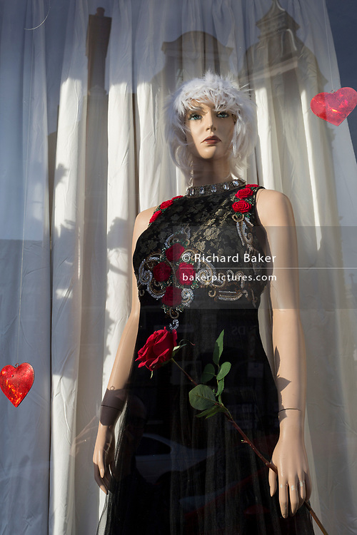 A female mannequin stands with a Valentine's Day theme in the window of a local charity shop in East Dulwich, on 13th February 2019, in London, England.
