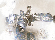 happy couple with their Volvo car ca 1950s