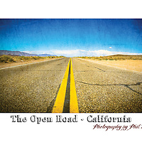 The Open Road in the Californian Desert. Not far from the outskirts of Death Valley.