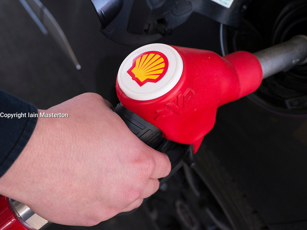 Detail of fuel pump at Shell filling station
