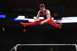 August 18, 2018 - Boston, Massachussetts, U.S - COLIN VANWICKLEN competes on the high bar during the final round of competition held at TD Garden in Boston, Massachusetts. (Credit Image: © Amy Sanderson via ZUMA Wire)