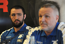 WBO world heavyweight title challenger Hughie Fury (left) and trainer Peter Fury during a pre-fight press conference at the Landmark Hotel, London.