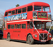 London red double decker Routemaster bus at Layer Marney Tower, Essex, England