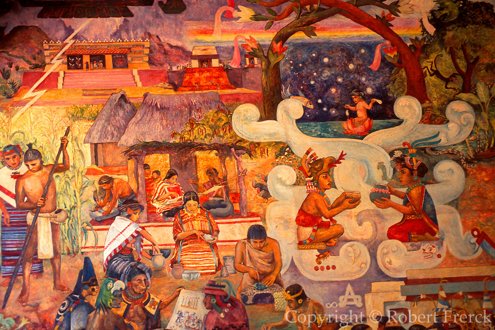 MEXICO, OAXACA, OAXACA STATE Palace of the Governors, mural depicting ancient Mitla and the life and mythology of the Mixtec