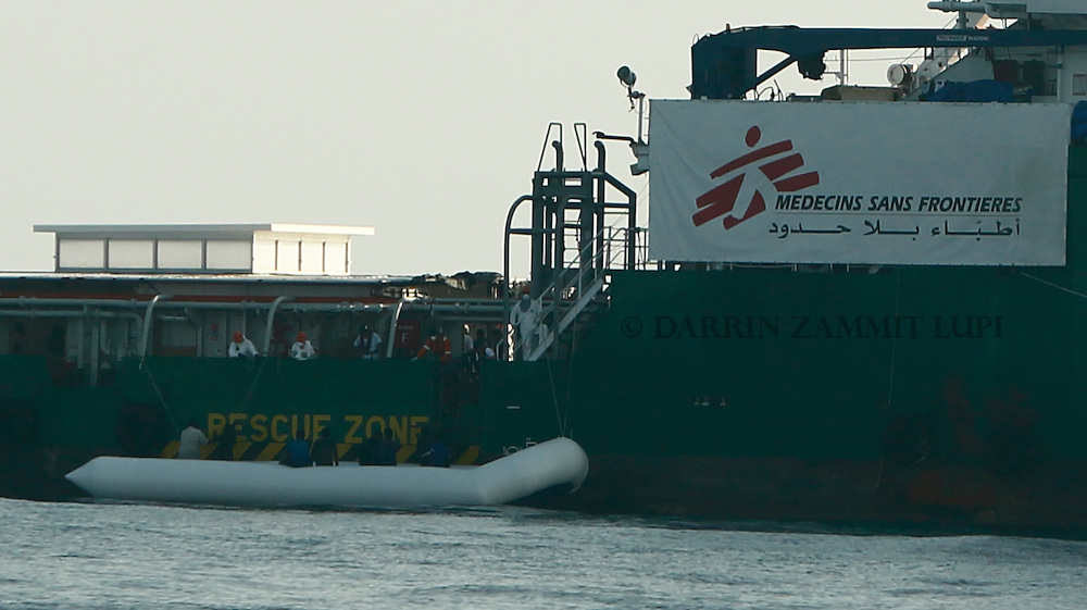 Some 128 migrants are rescued from a rubber dinghy by the Medecins san Frontiere (MSF) ship Bourbon Argos off the coast of Libya August 7, 2015.  <br /> REUTERS/Darrin Zammit Lupi <br /> MALTA OUT. NO COMMERCIAL OR EDITORIAL SALES IN MALTA