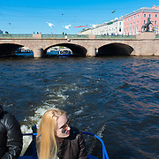 Girl On Tour Boat On Fontanka River, St Petersburg