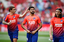 August 25, 2018 - Diego Costa, Griezmann and Filipe Luis of Atletico de Madrid during the spanish league, La Liga, football match between Atletico de Madrid and Rayo Vallecano on August 25, 2018 at Wanda Metropolitano stadium in Madrid, Spain. (Credit Image: © AFP7 via ZUMA Wire)