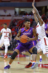 29 December 2016:  Jaiveon Eaves works against Paris Lee(1)during an NCAA  MVC (Missouri Valley conference) mens basketball game between the Evansville Purple Aces the Illinois State Redbirds in  Redbird Arena, Normal IL