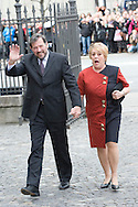 14.04.11. Copenhagen, Denmark.Princess Mary's father Mr. John Donaldson and his woman Mrs. Susan Moody's arrival to the Holmens Church to christening ceremony.Photo: Ricardo Ramirez