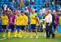 July 7, 2018 - Samara, Russia - 180707 Marcus Berg, Gustav Svensson, John Guidetti, Albin Ekdal, Andreas Granqvist and head coach Janne Andersson looks dejected after loosing the FIFA World Cup quarter final match between Sweden and England on July 7, 2018 in Samara..Photo: Petter Arvidson / BILDBYRÃ…N / kod PA / 92083 (Credit Image: © Petter Arvidson/Bildbyran via ZUMA Press)
