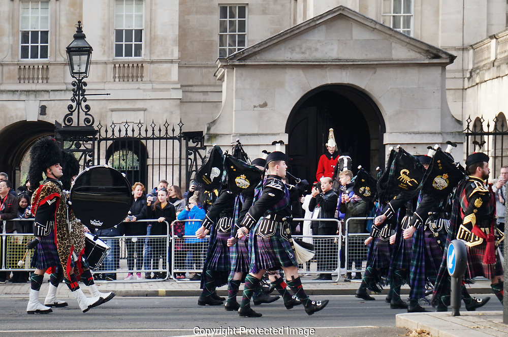 London, UK  The Horse Guards  and  band on White Hall.<br /> Photo by Dennis Brack