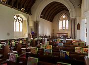 Interior of historic village parish church at Kenton, Suffolk, England, UK