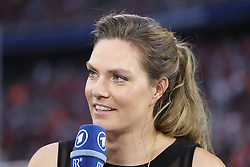 01.08.2017, Allianz Arena, Muenchen, GER, Audi Cup, Atletico Madrid vs SSC Neapel, im Bild Julia Scharf - Moderatorin bei der ARD // during the Audi Cup Match between Atletico Madrid and SSC Neapel at the Allianz Arena in Muenchen, Germany on 2017/08/01. EXPA Pictures © 2017, PhotoCredit: EXPA/ Sammy Minkoff<br /> <br /> *****ATTENTION - OUT of GER*****