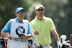 26.06.2015, Golfclub München Eichenried, Muenchen, GER, BMW International Golf Open, Tag 2, im Bild Florian Fritsch (GER) und sein Caddie am Abschlag, Tee // during day two of the BMW International Golf Open at the Golfclub München Eichenried in Muenchen, Germany on 2015/06/26. EXPA Pictures © 2015, PhotoCredit: EXPA/ Eibner-Pressefoto/ Kolbert<br /> <br /> *****ATTENTION - OUT of GER*****