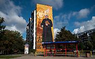 Białystok. Mural przedstawiający błogosławionego księdza Michała Sopoćko