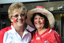070418 Emirates Airlines Park, Ellis Park, Johannesburg, South Africa. Super Rugby. Lions vs Stormers. Ardent Lions fans Elize Hern from Germiston and Mary-Ann Pretorius from Alberton.<br />Picture: Karen Sandison/African News Agency (ANA)