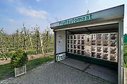 Nederland, Ophemert, 15-4-2019Langs de weg staat bij een fruitteler een fruitautomaat. Hier kan men  fruit, appels, uit een automaat halen. Omdat het pas lente is komen deze appels nog van de oogst van vorig jaar, en dus uit de opslag, koeling . Foto: Flip Franssen
