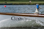 """Henley. Berks, United Kingdom. <br /> <br /> Steam Launch, """"Consulta"""" Umpire's """"Megaphone, Loud Hailer"""" resting on the Stern, during the 2017 Henley' Women's Regatta. Rowing on, Henley Reach. River Thames. <br /> <br /> <br /> Saturday  17/06/2017<br /> <br /> <br /> [Mandatory Credit Peter SPURRIER/Intersport Images]"""
