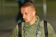 Leigh Griffiths (#9) of Celtic will be hoping to get some game time as he arrives at Parkhead ahead of the Europa League match between Celtic and Rennes at Celtic Park, Glasgow, Scotland on 28 November 2019.