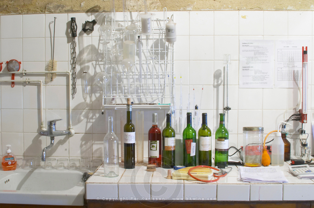 The winery laboratory with some equipment to do technical chemical analysis of the wines and musts Chateau Belingard Bergerac Dordogne France