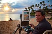 Artist, Robert Morrison Wearn, Sunset, Napili Bay, Maui, Hawaii