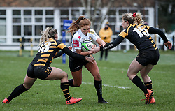 Niamh Terry of Exeter Chiefs is challenged by Amy Wilson Hardy of Wasps and Abby Dow of Wasps  - Mandatory by-line: Arron Gent/JMP - 06/03/2021 - RUGBY - Twyford Avenue - Acton, England - Wasps FC Ladies v Exeter Chiefs Women - Allianz Premier 15s