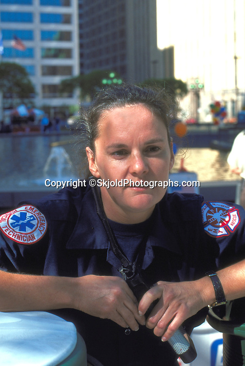 Paramedic age 28 at downtown youth march. Exchange Charities Youth Festival Minneapolis  Minnesota USA
