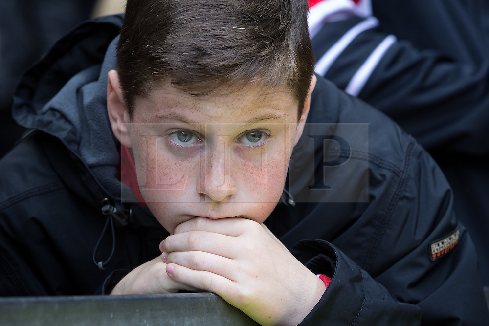 © Licensed to London News Pictures . 17/05/2015 .  Old Trafford , Manchester , UK . Manchester United fan watching the match . Manchester Utd vs Arsenal at Old Trafford Football Stadium , Manchester . Photo credit : Joel Goodman/LNP