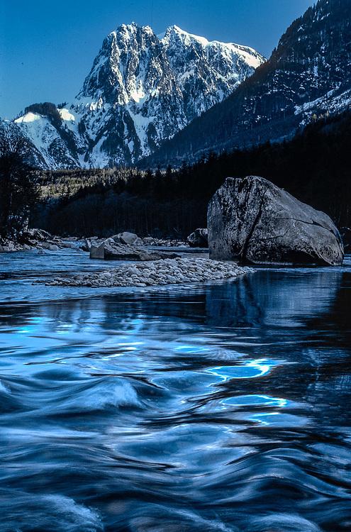 Mount Shuksan, Skykomish River, Alpine Lakes Wilderness, winter, Washington, USA