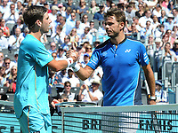 Tennis - 2018 Queen's Club Fever-Tree Championships - Day One, Monday<br /> <br /> Men's Singles, First Round: Stan Wawrinka (SUI) vs. Cameron Norrie (GBR)<br /> <br /> Stan Wawrinka after his win over Cameron Norrie shakes hands at the net , on Centre Court.<br /> <br /> COLORSPORT/ANDREW COWIE