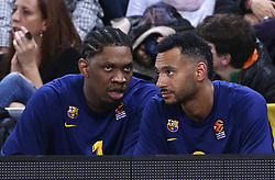 November 1, 2018 - Barcelona, Catalonia, Spain - Kevin Seraphin and Adam Hanga during the match between FC Barcelona and Maccabi Tel Aviv, corresponding to the week 5 of the Euroleague, played at the Palau Blaugrana, on 01 November 2018, in Barcelona, Spain. (Credit Image: © Joan Valls/NurPhoto via ZUMA Press)