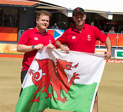 Handout photo provided by Jeff Holmes of Wales' Men's Pairs, Danny Salmon (left) and Marc Wyatt celebrate gold in the Lawn Bowl during day five of the 2018 Commonwealth Games in the Gold Coast, Australia.