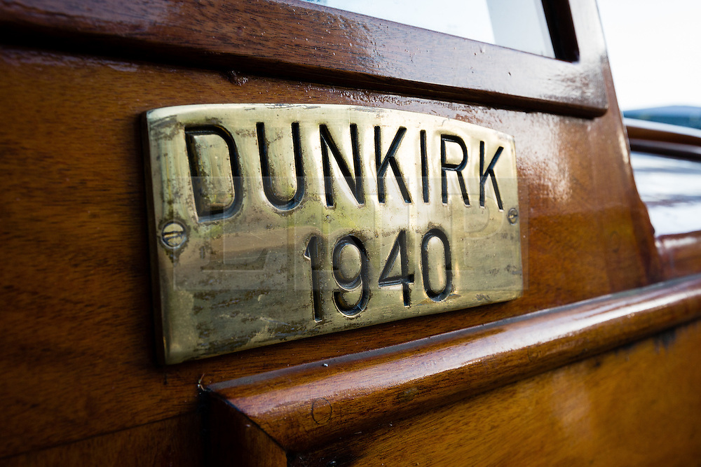 © Licensed to London News Pictures. 16/05/2015. London, UK. A Dunkirk plaque on the exterior of Dunkirk Little Ship, Hilfranor. Over 20 Dunkirk Little Ships have gathered in London toay before leaving in the morning to continue their journey to Dunkirk to mark the 75th anniversary of the Dunkirk Evacuations. Photo credit : Vickie Flores/LNP