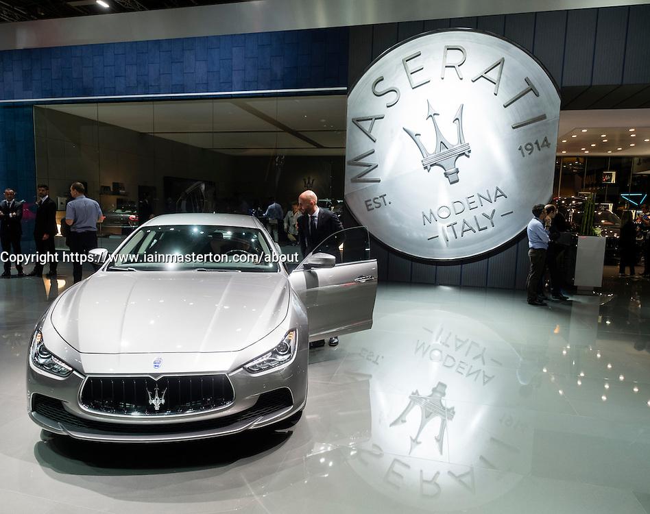 View of Maserati stand at Paris Motor Show 2016