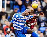 Photo: Alan Crowhurst.<br />Reading v Aston Villa. The Barclays Premiership. 10/02/2007. Reading's Leroy Lita heads on.