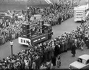 17/03/1960<br /> 03/17/1960<br /> 17 March 1960<br /> NAIDA Industrial St. Patrick's Day Parade, Dublin. Picture shows Bord na Mona float in the parade about to cross O'Connell Bridge. In front is the Solas Teó float.