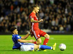 Che Adams of Birmingham City tackles Joe Bennett of Cardiff City-Mandatory by-line: NizaamJones/JMP - 13/10/2017 - FOOTBALL - St Andrew's Stadium- Birmingham, England - Birmingham City v Cardiff City - Sky Bet Championship