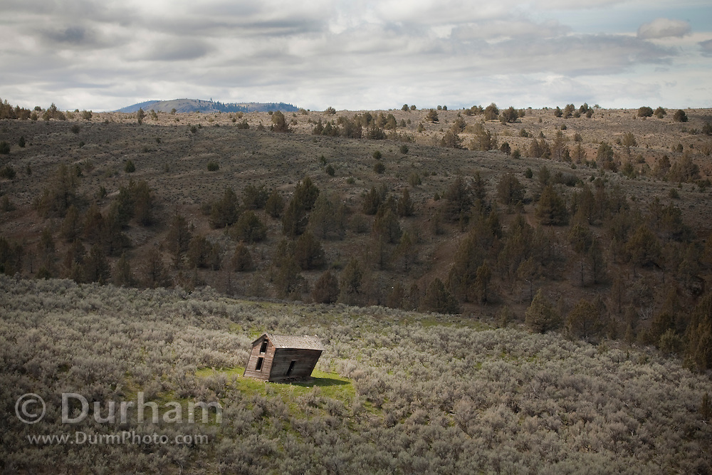 An abandoned structure in the high-desert of Oregon, near Painted Hills State Park.