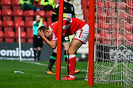 Scott Twine (27) of Swindon Town holds his head after missing a chance to score a goal during the EFL Sky Bet League 2 match between Swindon Town and Yeovil Town at the County Ground, Swindon, England on 10 April 2018. Picture by Graham Hunt.