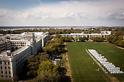 An aerial view of the Class of 2024's Oath Renewal Ceremony at The Citadel in Charleston, South Carolina on Friday, March 26, 2021.<br /> <br /> Credit: Cameron Pollack / The Citadel