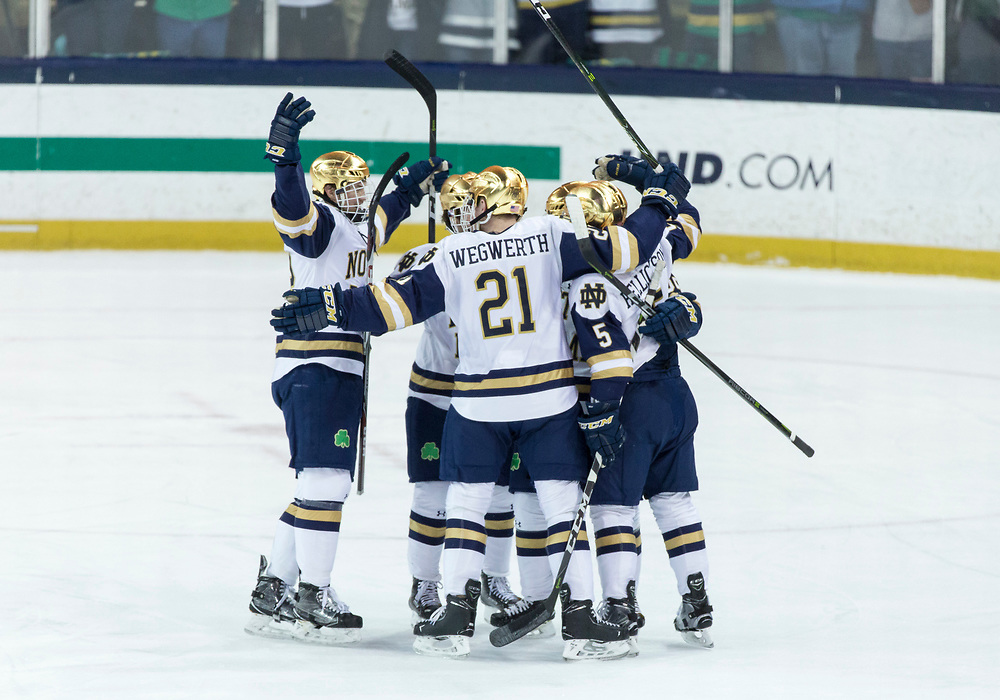 March 17, 2018:  Notre Dame players celebrate goal by Notre Dame defenseman Matt Hellickson (5) during NCAA Hockey game action between the Notre Dame Fighting Irish and the Ohio State Buckeyes at Compton Family Ice Arena in South Bend, Indiana.  Notre Dame defeated Ohio State 3-2 in overtime.  John Mersits/CSM