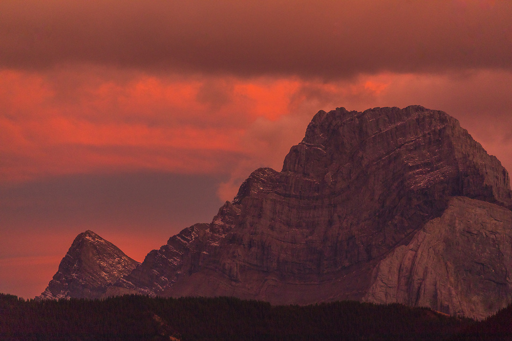 Mount Lougheed at sunset in the Canadian Rockies, Canmore AB